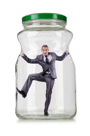 suffocating: Giovane uomo d'affari in vaso di vetro Archivio Fotografico