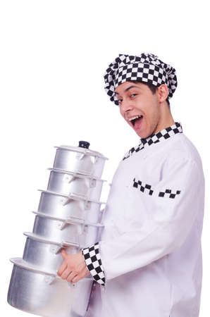 Cook with stack of pots on white Stock Photo - 20101663
