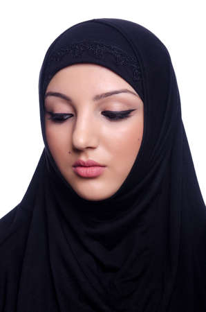 Muslim young woman wearing hijab on white Stock Photo - 20101664