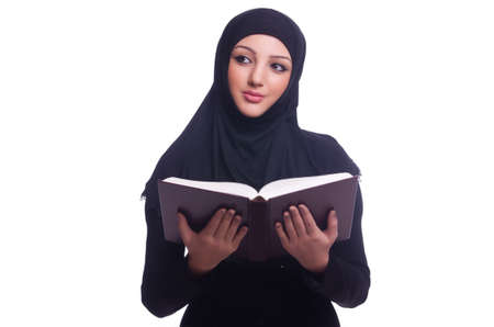 Muslim young woman wearing hijab on white Stock Photo - 20258796