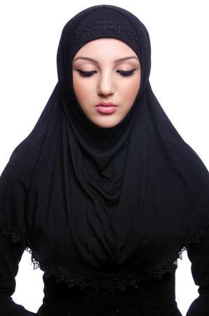 burqa: Muslim young woman wearing hijab on white