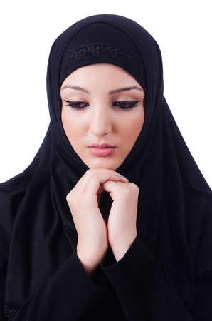 Muslim young woman wearing hijab on white Stock Photo - 20258801