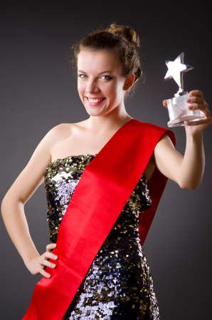 beauty contest: Woman winning the beauty contest