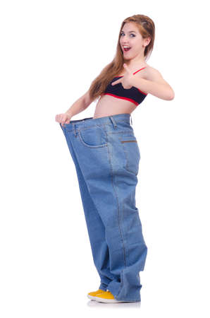 Woman in dieting concept with big jeans Stock Photo - 19941768