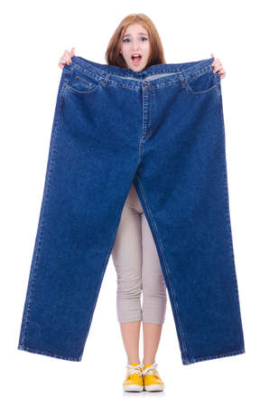 Woman in dieting concept with big jeans Stock Photo - 19941791