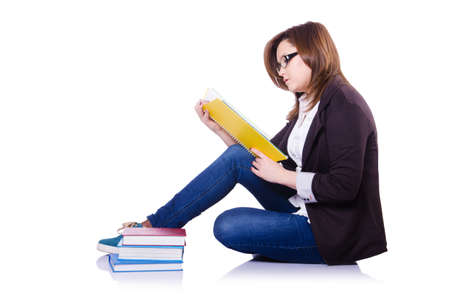Girl student with books on white Stock Photo - 20574161