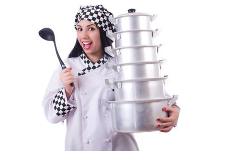 Cook with stack of pots on white Stock Photo - 19933285