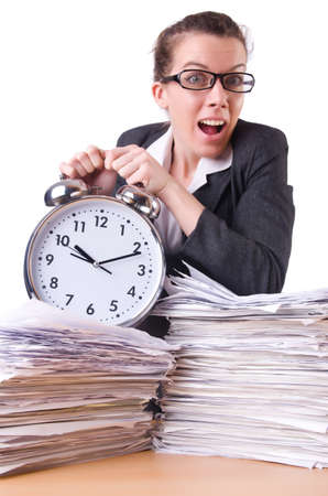 Woman businesswoman with giant alarm clock Stock Photo - 19933289