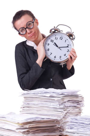 Woman businesswoman with giant alarm clock Stock Photo - 19933300