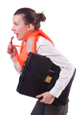 Young woman with life vest on white photo