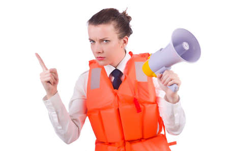 Young woman with vest and loudspeaker on white Stock Photo - 19933296
