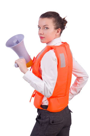 Young woman with vest and loudspeaker on white Stock Photo - 19933299