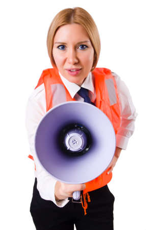 Young woman with vest and loudspeaker on white Stock Photo - 19933676