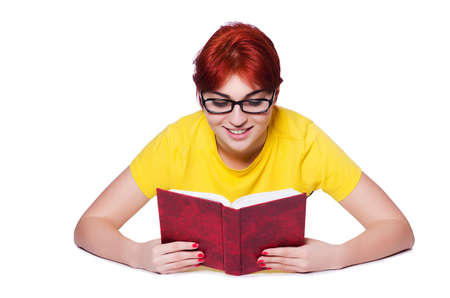 Girl student with books on white Stock Photo - 19933724