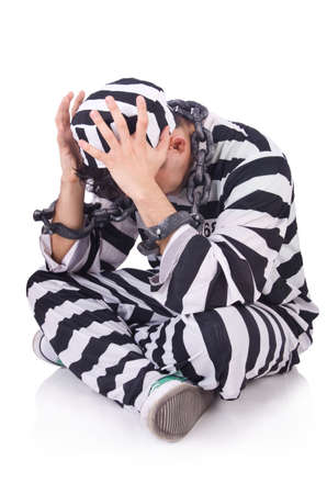 Funny convict isolated on the white Stock Photo - 19933826
