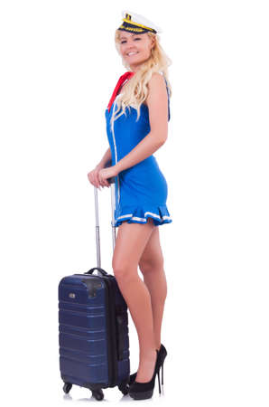 Woman travel attendant with suitcase on white Stock Photo - 20574155