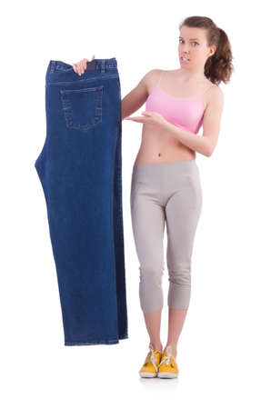Woman in dieting concept with big jeans Stock Photo - 19933883