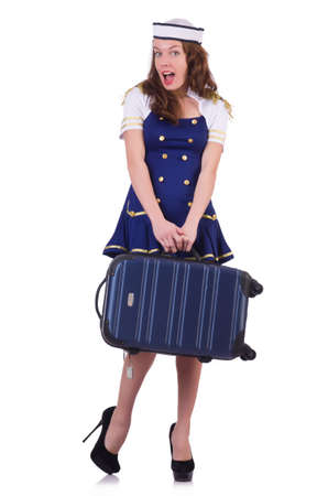 Woman travel attendant with suitcase on white Stock Photo - 21086229