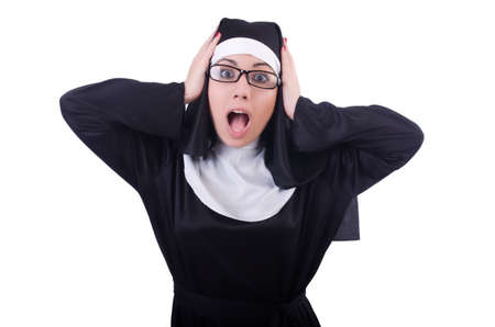 Funny nun isolated on the white Stock Photo - 21058540