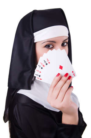 Nun playing cards on white Stock Photo - 21058541