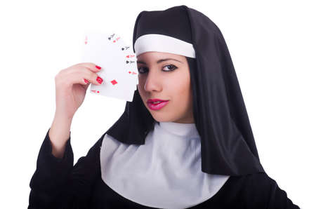 Nun playing cards on white Stock Photo - 21058542