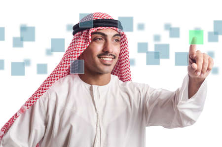 Arabian man pressing virtual buttons photo