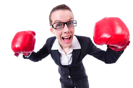 Woman with boxing gloves on white Stock Photo - 21058550