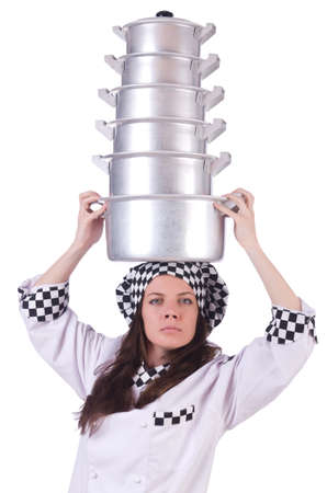 Cook with stack of pots on white Stock Photo - 19934234