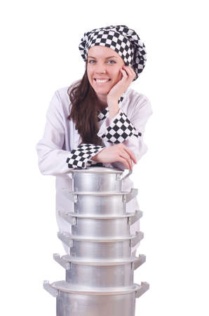 Cook with stack of pots on white Stock Photo - 19934232