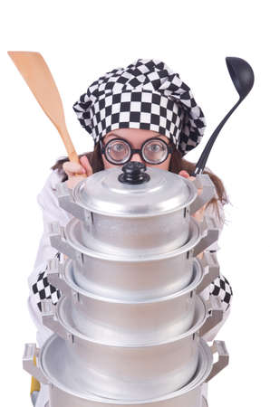 Cook with stack of pots on white Stock Photo - 19934235
