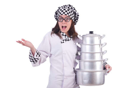 Cook with stack of pots on white Stock Photo - 19934245