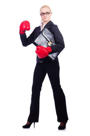Woman businesswoman with boxing gloves on white Stock Photo - 19913810