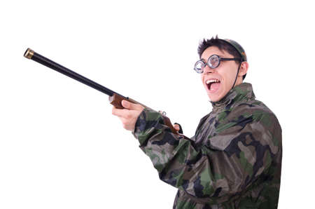 Funny soldier isolated on the white Stock Photo - 19934244