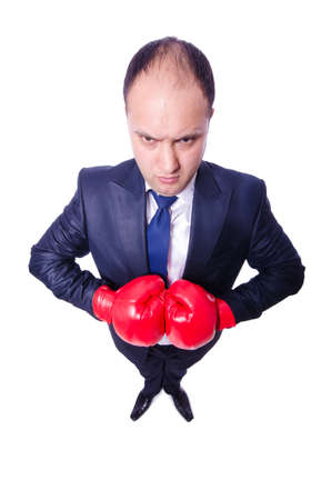 Young businessman boxer isolated on white Stock Photo - 21086486