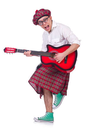 Funny scotsman with guitar on white Stock Photo
