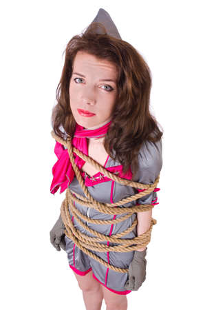 Female stewardess tied with rope photo
