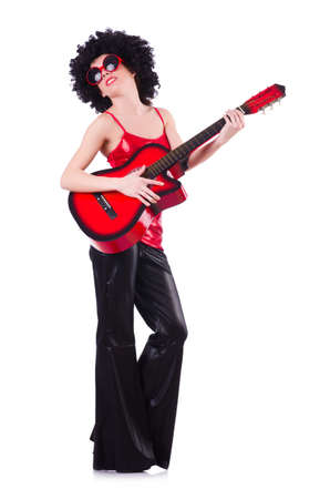 Young singer with afro cut and guitar Stock Photo - 20079948