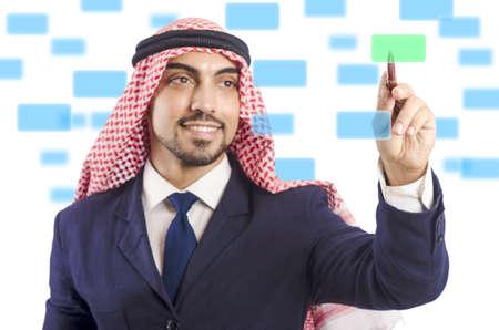Arab man pressing virtual buttons Stock Photo - 20080241