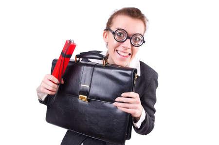 Businesswoman with dynamite on white Stock Photo - 20574319