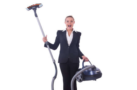 Businesswoman with vacuum cleaner on white photo
