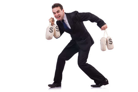 Man with money sacks on white photo