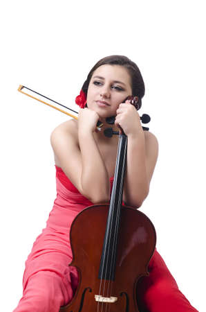Young girl with violin on white photo