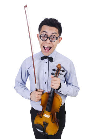 fiddlestick: Funny man with violin on white
