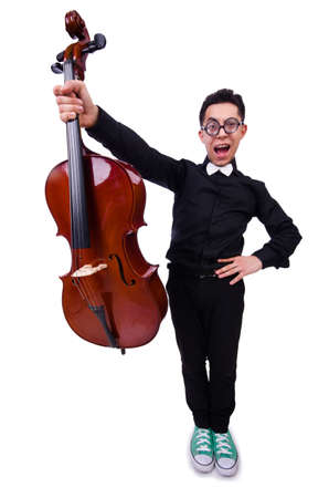 Funny violin player on white photo