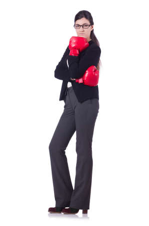 Businesswoman in boxing concept on white Stock Photo - 21110182