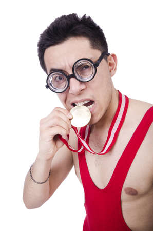 Funny wrestler with winners medal Stock Photo - 20080277