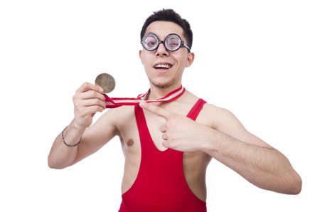 Funny wrestler with winners medal photo
