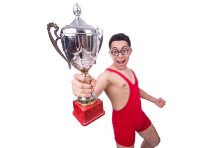 pankration: Funny wrestler with winners cup