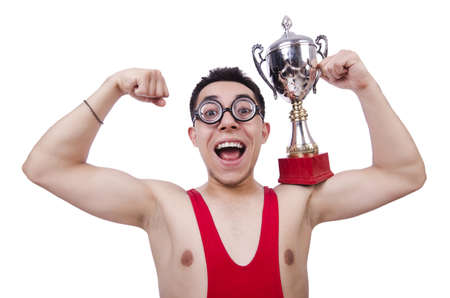 Funny wrestler with winners cup photo