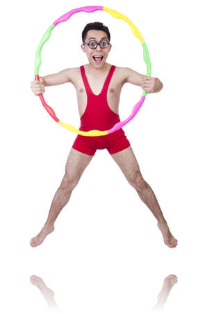 feeble: Funny sportsman with hula hoop on white Stock Photo
